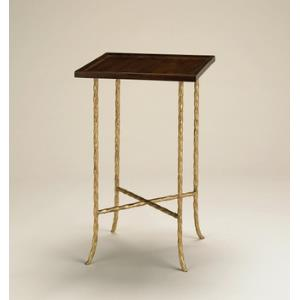 Gilt Twist Square Table with Wood Top