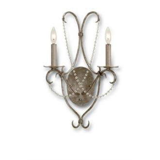 Currey and Company 5980 Two Light Crystal Wall Sconce