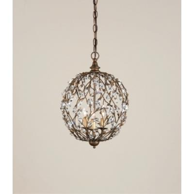 Currey and Company 9652 3 Light Crystal Bud Sphere Chandelier