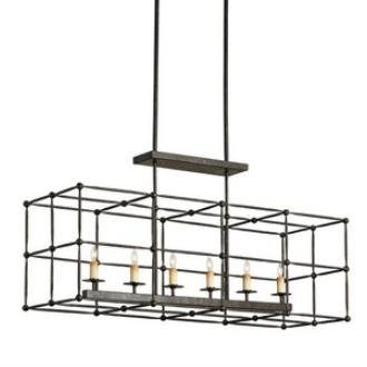 Currey and Company 9817 Fitzjames - Six Light Rectangular Chandelier