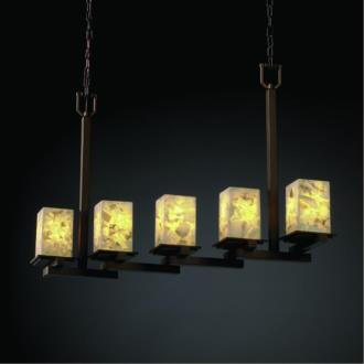 Justice Design ALR-8687 Alabaster Rocks - Five Light Zig-Zag Montana Chandelier