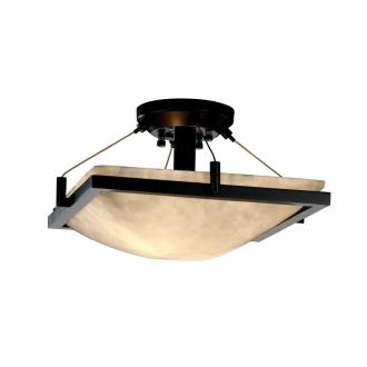 Justice Design CLD-9780 Clouds - Two Light Square Semi-Flush Mount with Ring