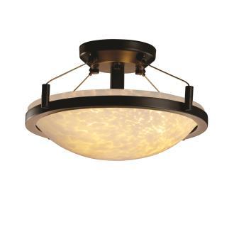 """Justice Design FSN-9680 14"""" Round Semi-Flush Bowl w/ Ring"""