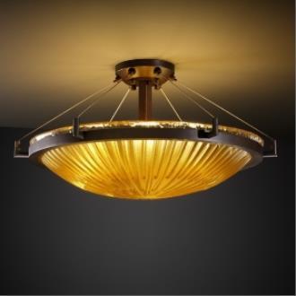 Justice Design GLA-9682 Veneto Luce - Six Light Round Semi-Flush Mount with Ring