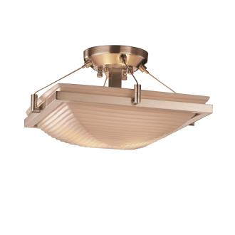 Justice Design PNA-9780 Porcelina - Two Light Square Semi-Flush Mount with Ring