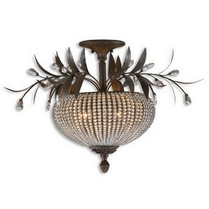 Cristal De Lisbon - Three Light Semi-Flush Mount