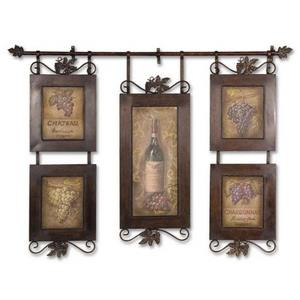 "Hanging Wine - 52.5"" Kitchen Framed Wall Art"